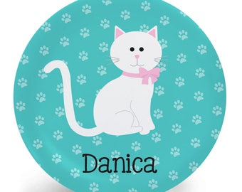 White Cat Plate - Personalized Plate - Child's Bowl - Cat Melamine Bowl or Plate Custom Personalized with Childs Name