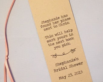 Literary Wedding Bookmark Program / Wedding Favor / Shower Favor (set of 20)