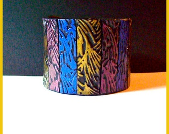 Cuff Bracelet Polymer Clay 2 in. wide Textured Stripes in Rose, Gold and Blue  Magnetic Clasp