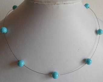 Simple wedding necklace turquoise beads