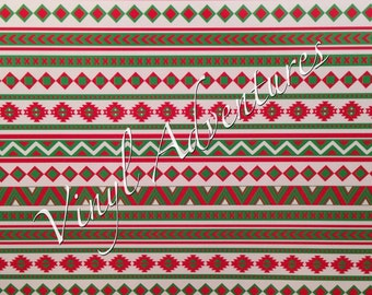 "Aztec Tribal Pattern Vinyl, Red Green White Christmas Aztec, Christmas Holiday Aztec, 12""x12"", Permanent Adhesive Vinyl"