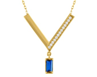 10K Gold Simulated Sapphire Necklace With 18 Inch Chain