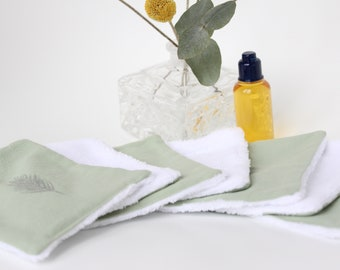Cleansing wipes green cotton / square cotton very soft for baby care / baby toilet / facial care / washable cotton wipe reusable