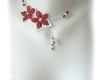 Burgundy and ivory bridal flower satin Julia
