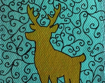 Gold Deer patterned ACEO art card by Amanda Christine