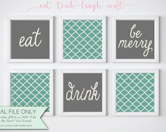Eat Drink & Be Merry Set - Dining Room and Kitchen Decor - Quatrefoil Pattern - Teal, Gray, Cream {Instant Digital Download - Square 12x12}
