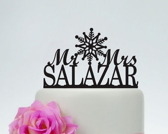 Wedding Cake Topper,Mr and Mrs Cake Topper With Surname,Snowflake Topper,Personalized Cake Topper,Winter Wedding Cake Topper C120