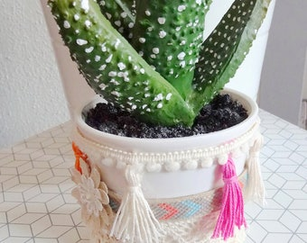 Bohemian decor cactus pot