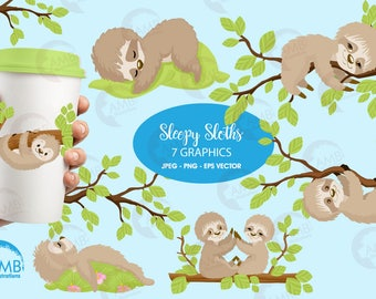 Sleepy sloth clipart, sloth clipart for scrapbooking, Cupcake Toppers, Paper Crafts, AMB-2200