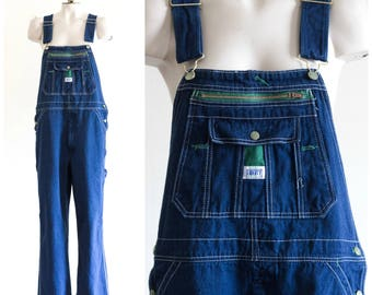 Men's dark wash denim bib overalls from Liberty Overalls