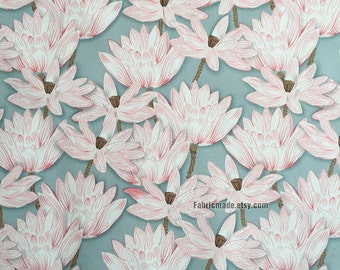 Floral Cotton Fabric, Pink Water Lily Flower Cotton Fabric On Grey Black Cotton - Fabric 1/2 Yard