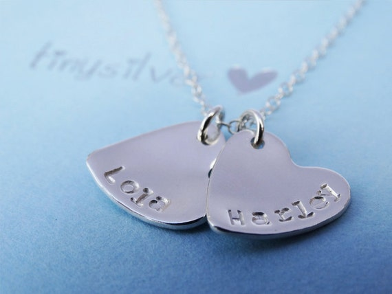 Personalised Small Silver Hearts Necklace - Sterling Silver
