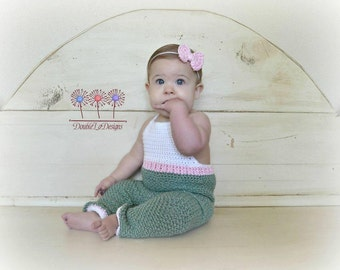 INSTANT DOWNLOAD - Crochet Baby Pants Pattern - Baby Overalls Pattern - Crochet pattern