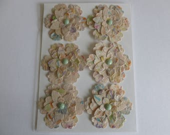Handmade onion paper punched flower embellishments/scrapbooking/card making/mixed media