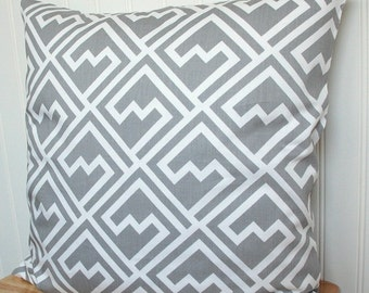 Gray Geometric Throw Pillow, Gray Geometric Pillow Cover, Grey 18x18 Throw Pillow, Grey Cushion Cover, Grey Geometric Cushion Cover