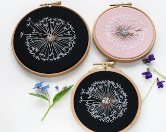 Make a Wish Dandelion Embroidery Hoop Art - Bridesmaid, Housewarming Gift - Botanical Home Wall Art Decor - Mid century modern Wall Decor