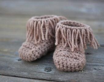 Newborn Fringe Moccasin Booties