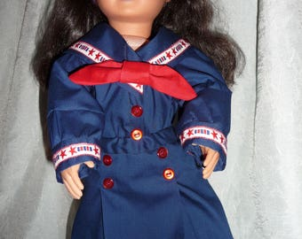 A sailing we will go!! Your 18 in doll will enjoy her nautical dress and hat and be stylish as well.