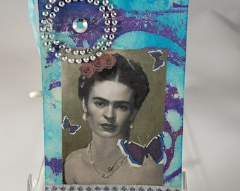 Frida Kahlo, Mixed Media Tag, Altered Frida Tag, Gelli Plate Background, Gift Tag, Thank You Tag, Happy Birthday Tag-UNIQUE