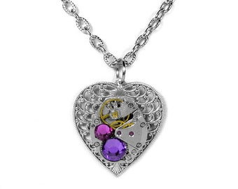 Steampunk Jewelry Necklace Vintage Watch Silver Filigree HEART Pink Purple Crystals Wedding Holiday Bridesmaids Gifts - Steampunk Boutique