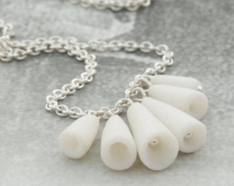 White porcelain  sterling silver necklace - Pasodoble ,  simple artisan ceramic necklace , Modern jewelry