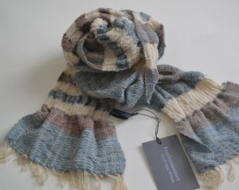 Hand-woven Tussah Silk and Wool Natural Dyed Scarf