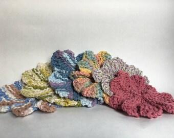 100% Cotton Hand-Knit Flower Washcloths
