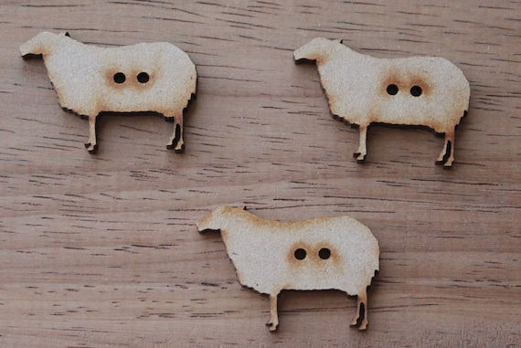 3 Craft Wood Sheep Buttons, 3.6 cm Wide, Laser Cut Wood