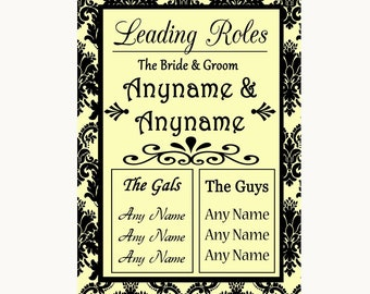 Yellow Damask Who's Who Leading Roles Personalised Wedding Sign