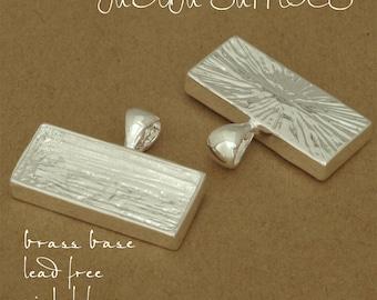 10pcs 12x27mm  horizontal silvery white Pewter blank bezel rectangle Pendant Tray