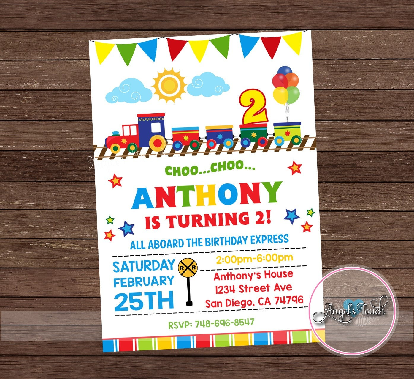Train Birthday Party Invitation Choo Choo Train Birthday