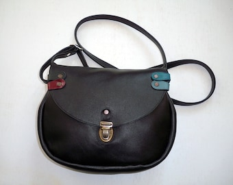 black leather with flap bag