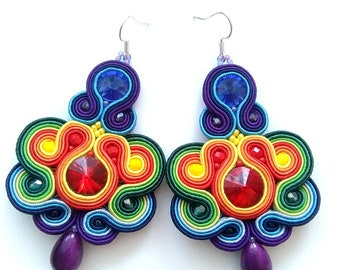 Rainbow amazing soutache earrings, handmade jewellery, original gift WOW! crystals colorful, retro vintage, free shipping