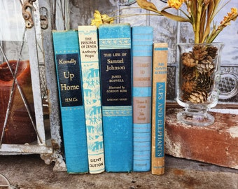 Old Books - Alps and Elephants & Other Pretty Blue Books FREE SHIPPING