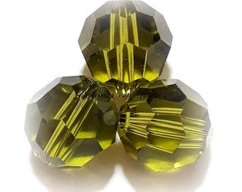 Swarovski Crystal Beads 5000 Series OLIVINE Faceted Round Bead - Sizes 6mm,7mm,8mm & 10mm available