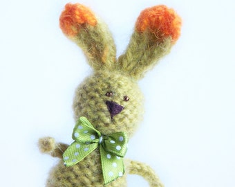 Yellow rabbit decor Stuffed rabbit with ribbon Home decoration Rustic country indoor decor Multicolor animal Gift for him her