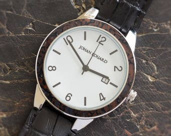 Fossil Wristwatch, Polished Metal Watch With Dinosaur Bone And Leather Strap, Fossil Gift, Johan Eduard Watches