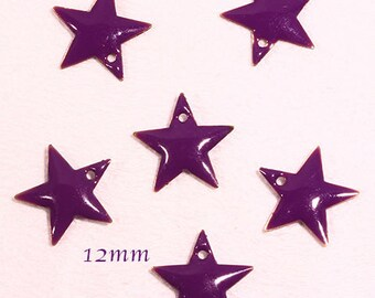 6 sequins star enamel brass 12mm purple
