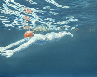 Art print - 'Reflections II' - A3 size - from a painting by Nancy Farmer. Open water swimming, wild swimming. Underwater swimmer.