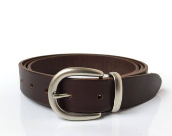 "Leather Belt in Brown - 1"" 1/4 - Handmade In UK - Silver Buckle - Brown Dress Belt - Brown Leather Belt - Genuine Leather Belt"