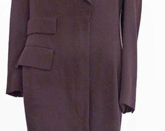 Escada dress Long sleeve Plum Wool  Vtg 80s Button front Work  Margaretha Ley Euro 34 Knee length Switzerland