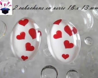 2 glass cabochons 18mm x 13mm love theme