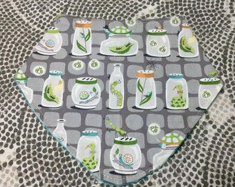 BUGS AND SNAKES bandana bib.  Dribble - Drool - Baby - Insects - Handmade - Made in America - Absorbent Backing - Metal Snaps - Feeder Bib