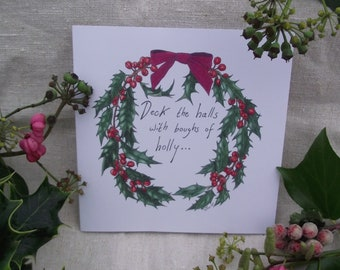 Holly wreath Christmas greetings card