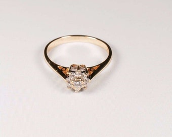 10K Yellow Gold 1/3 ct. tw. Diamond Cluster Ring, size 6