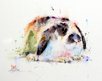 RABBIT Watercolor Print by Dean Crouser