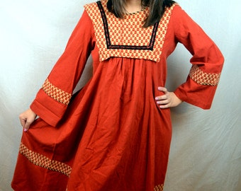 RARE 1970s 70s Beautiful Hippie Cotton India Boho Dress