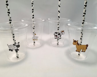 Barnyard Party Cups with Lids and Straws, Plastic Barnyard Party Drink Cups