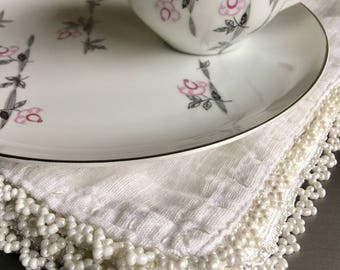 Trellis Laurel China Snack Plate & Cup Vintage Pink Floral Asian China Lunch Set w/ Tea Cup - #3660