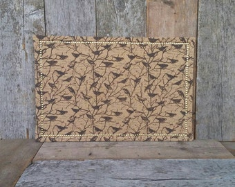 Bird Burlap Covered Large Cork Board - Gold Border - Bird Pin Board - 36 x 24 in. Decorative Corkboard